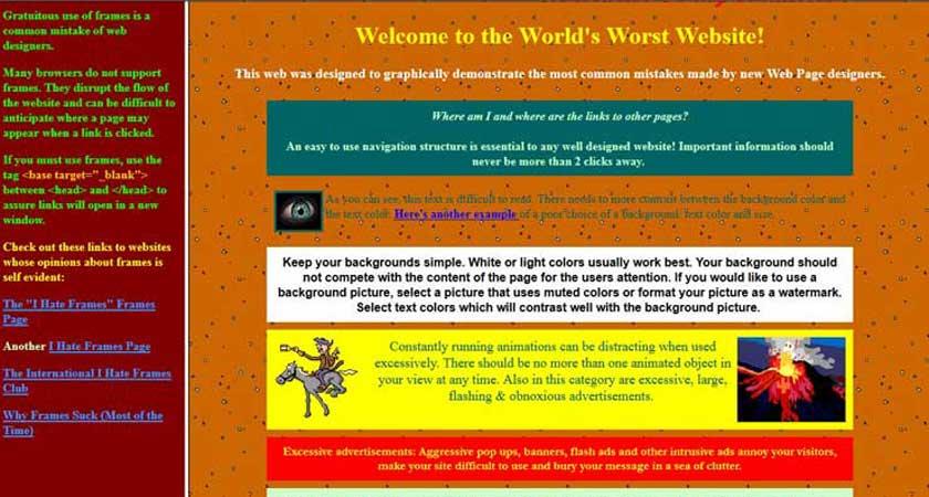 schlechte Website