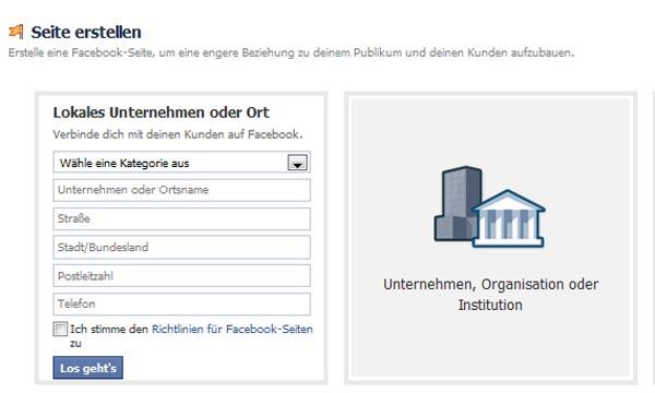 Anleitung FB-Seite erstellen