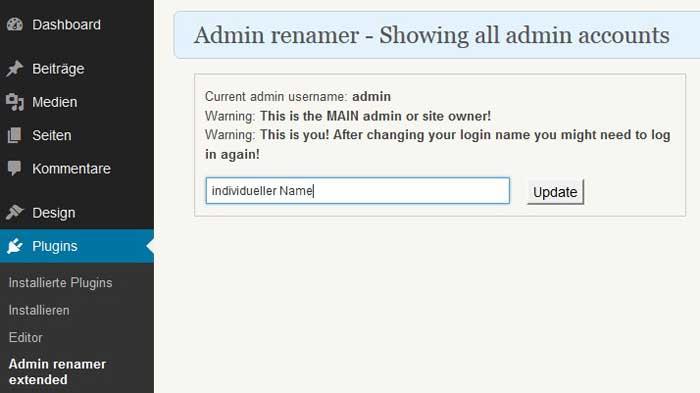 Screenshot 1 Plugin Admin renamer