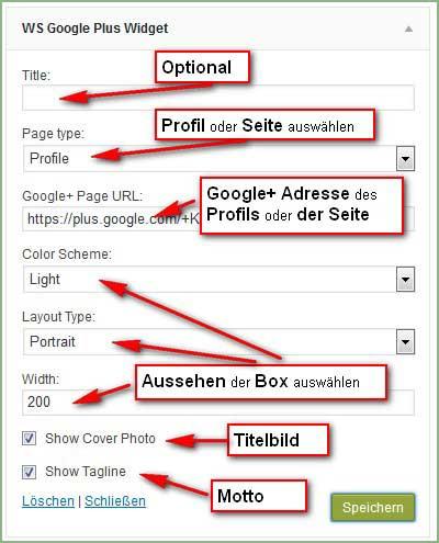 Einstellungen des Google+ Plugins