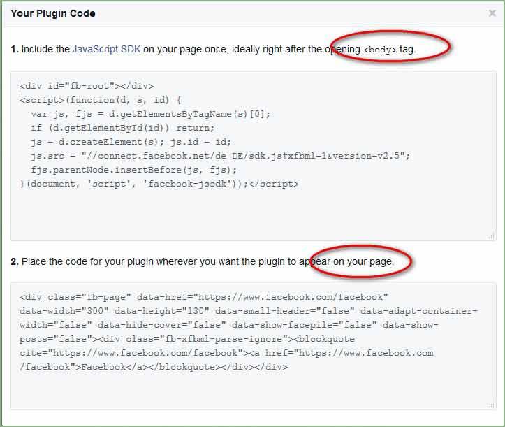Code für das Facebook Page Plugin