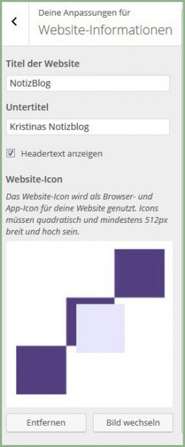 WP Websiteinformation mit Grafik