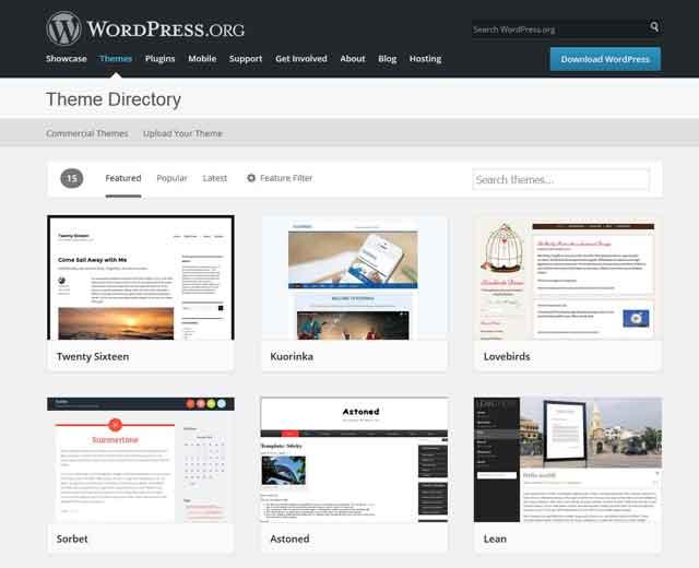 Verschiedene WordPress-Themes