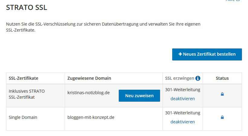 SSL-Zertifikat bei Strato hinterlegen