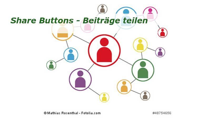 Share Buttons - Beiträge in den sozialen Netzwerken teilen